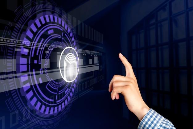 Mão de pessoas e holograma de impressão digital 3d na frente dele