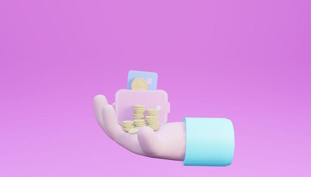 Mão de renderização 3d segurando moedas e cartões credic em fundo fúcsia brilhante