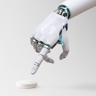 Mão de robô apontando dedo, tecnologia de ia