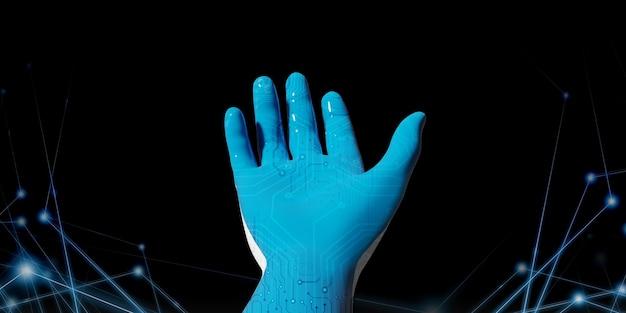 Mão de robô azul com biblioteca de código binário idéias apresentadas na era digital