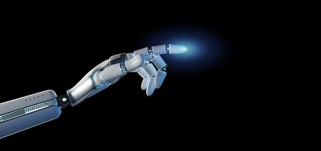 Mão de robô ciborgue em um uniforme