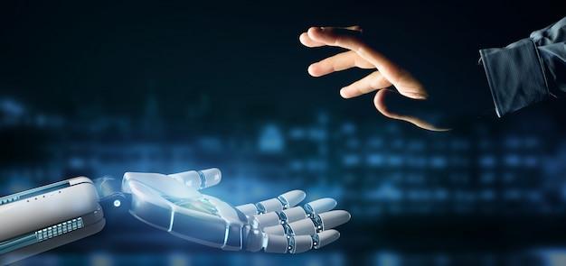 Mão de robô ciborgue em uma cidade de renderização em 3d