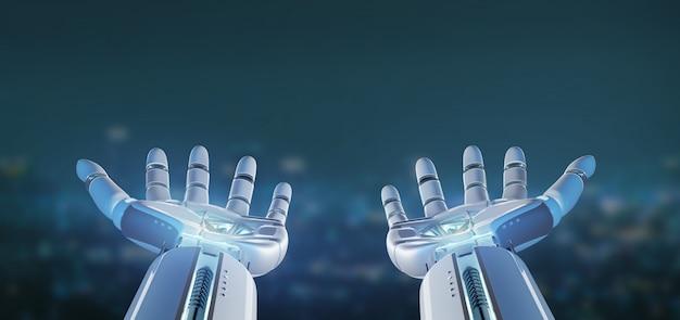 Mão de robô ciborgue em uma cidade