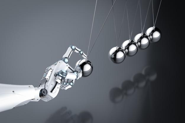 Mão de robô de renderização 3d segurando o berço de newton