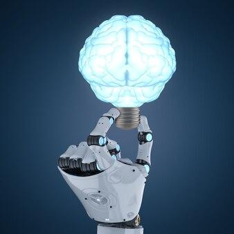 Mão de robô de renderização 3d segurando uma lâmpada brilhante em forma de cérebro