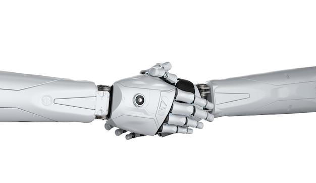 Mão de robô de renderização 3d tremendo isolado no branco