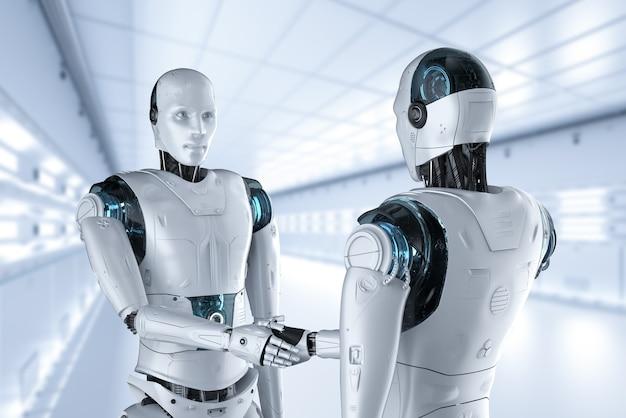 Mão de robô de renderização 3d tremendo no escritório