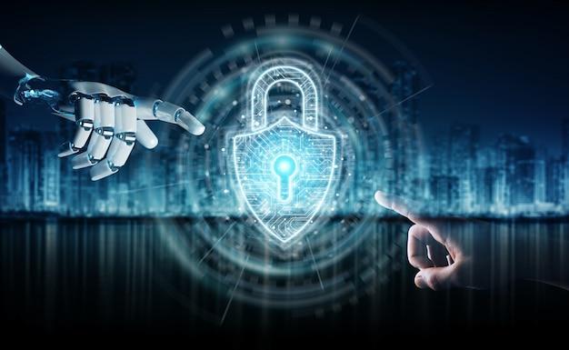 Mão de robô e mão humana tocando segurança de cadeado digital