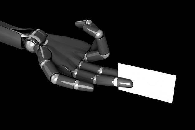 Mão de robô humanóide segurando um cartão branco. renderização em 3d