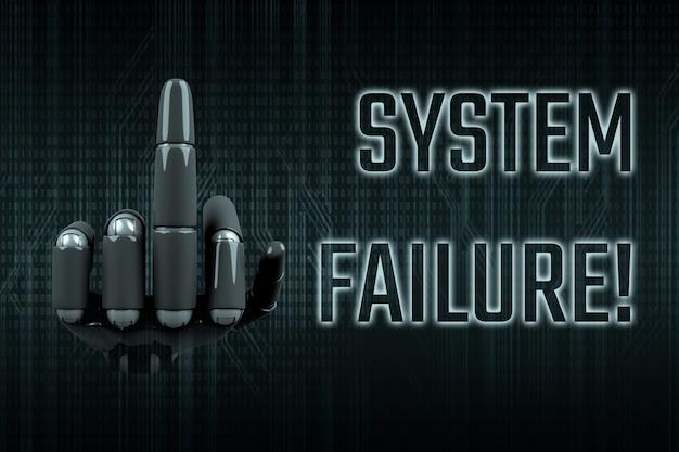 Mão de robô mostrando o dedo do meio