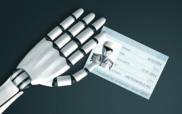 Mão de robô na mesa com um passaporte de identificação