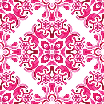 Mão-de-rosa e branco abstrato desenhado telha padrão de pintura em aquarela ornamental sem emenda.