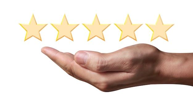 Mão de tocar ascensão no aumento de cinco estrelas. aumentar o conceito de classificação da avaliação