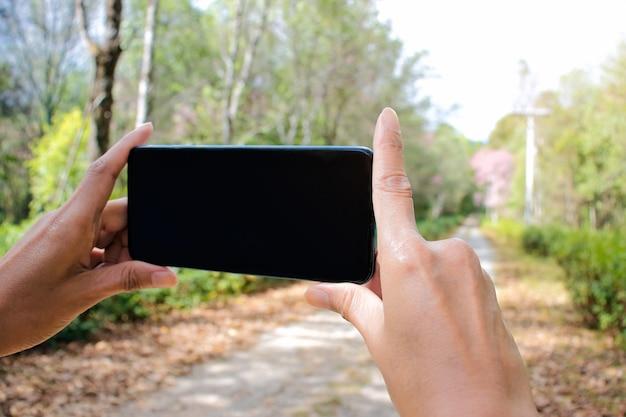 Mão de turista segurando o telefone móvel esperto tirando foto com a montanha rural