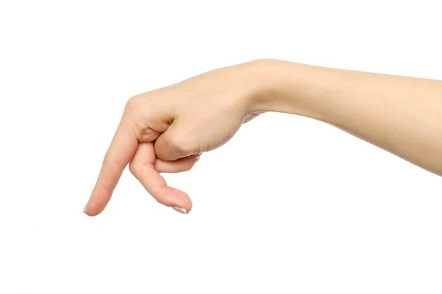 Mão de uma mulher com os dedos simulando alguém andando ou correndo