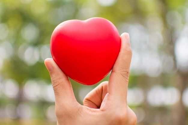 Mão de uma mulher segurando coração vermelho