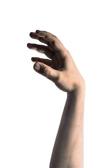 Mão de zumbi assustador isolado no fundo branco