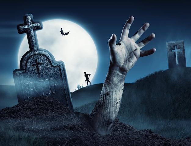 Mão de zumbi saindo de seu túmulo