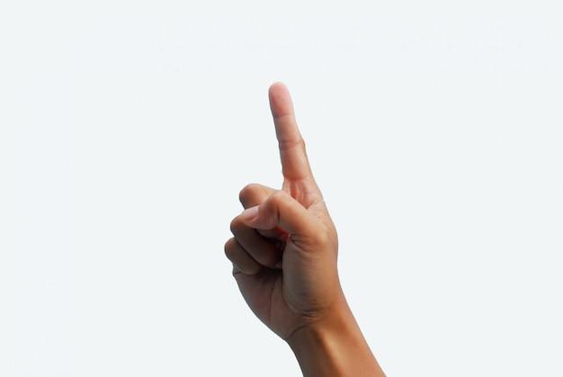 Mão, dedo apontando, branco