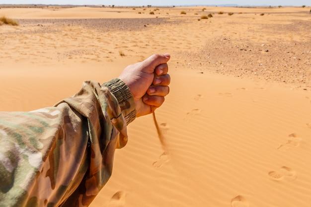 Mão derrama areia