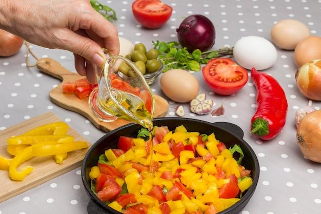 Mão derrama óleo. tomates fatiados e verduras na panela.