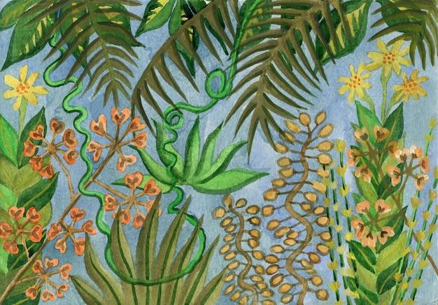 Mão desenhada arte de ramos e folhas de diferentes plantas tropicais. fundo verde natural