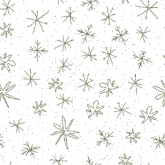 Mão desenhada flocos de neve sem costura padrão de natal. flocos de neve voando sutis em flocos de neve de giz fundo. sobreposição de neve handdrawn de giz incrível. decoração elegante de temporada de férias.