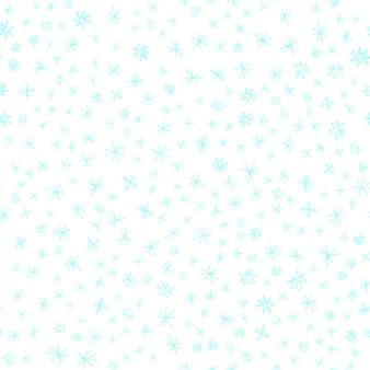 Mão desenhada flocos de neve sem costura padrão de natal. flocos de neve voando sutis em flocos de neve de giz fundo. sobreposição de neve handdrawn de giz incrível. decoração emocional da temporada de férias.