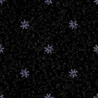 Mão desenhada flocos de neve sem costura padrão de natal. flocos de neve voando sutis em flocos de neve de giz fundo. sobreposição de neve handdrawn giz atraente. decoração pitoresca da temporada de férias.