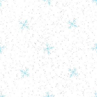 Mão desenhada flocos de neve sem costura padrão de natal. flocos de neve voando sutis em flocos de neve de giz fundo. sobreposição de neve handdrawn giz vivo. decoração cativante para as festas de fim de ano.