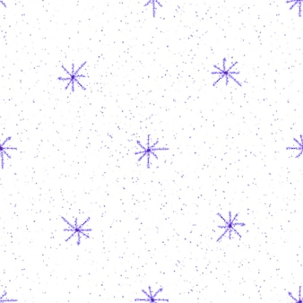 Mão desenhada flocos de neve sem costura padrão de natal. flocos de neve voando sutis em flocos de neve de giz fundo. sobreposição de neve handdrawn giz vivo. decoração fresca da temporada de férias.
