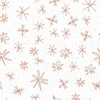 Mão desenhada flocos de neve sem costura padrão de natal. flocos de neve voando sutis em flocos de neve de giz fundo. surpreendente sobreposição de neve desenhada à mão de giz. decoração fresca da temporada de férias.