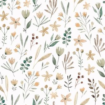 Mão desenhada flores aquarela padrão sem emenda. campo de flores. prado bonito com diferentes plantas e flores.