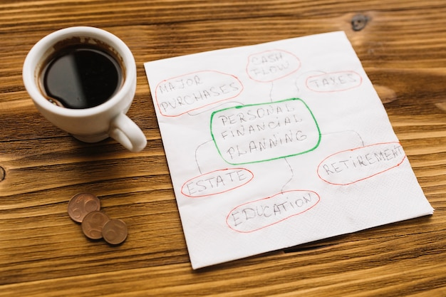 Mão desenhada gráfico em papel com chá preto e moedas sobre a mesa de madeira