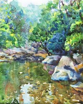 Mão desenhada natureza paisagem. lago em aquarela e montanhas.