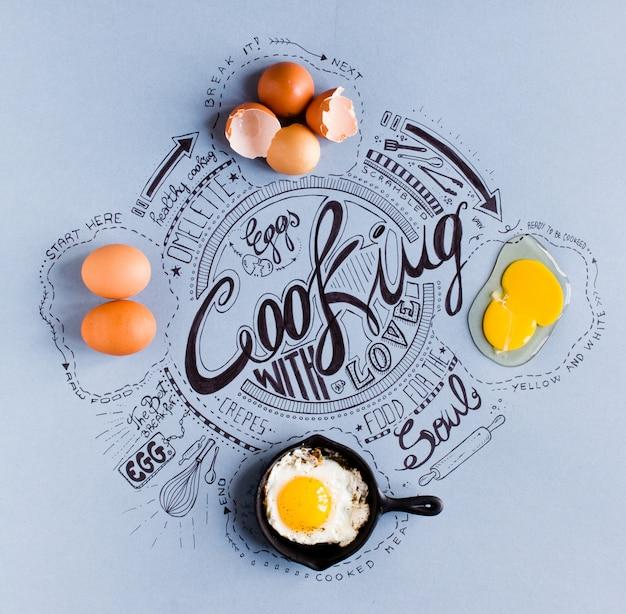 Mão desenhada poster vintage com ovos relacionados com desenhos de cozinha, mostrando 4 fases de cozimento
