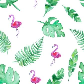Mão desenhada sem costura tropical folhas e flamingos padrão