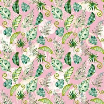 Mão desenhada tropical deixa aquarela padrão sem emenda de folhas exóticas de samambaia de palmeira verde monstroa