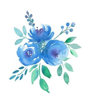 Mão desenhando ilustração floral em aquarela boho com flores azuis