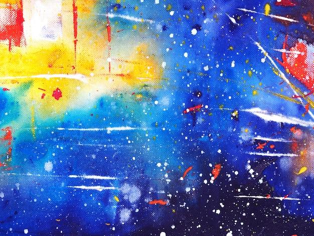 Mão desenhar textura abstrata de pintura em aquarela colorida céu azul