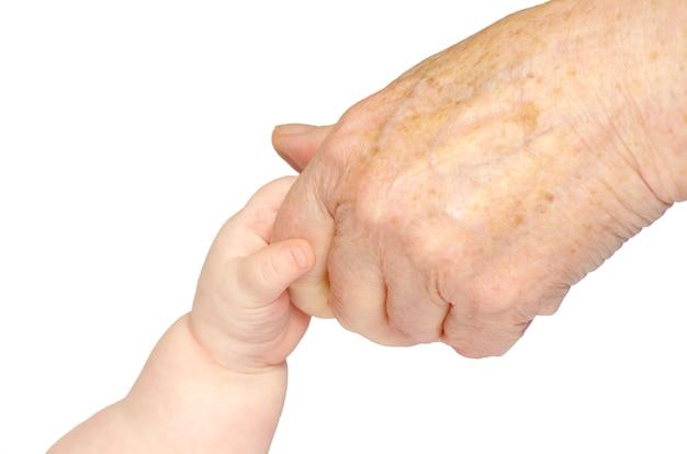 Mão do bebê isolada no branco