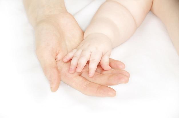 Mão do bebê segurando o dedo da mãe isolado no branco