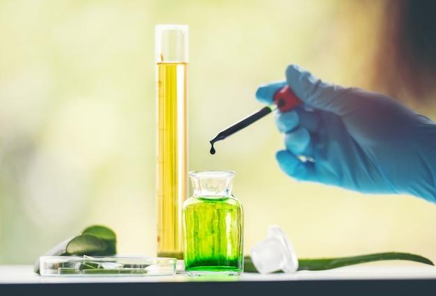 Mão do cientista trabalhando com aloe vera e tubo de vidro com líquido verde e amarelo dentro do laboratório. cientista se concentra para carregar amostras de amostras de tubos de pcr para análise