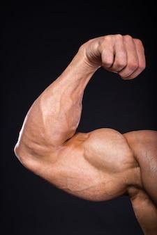 Mão do close-up do halterofilista muscular do homem.