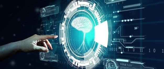 Mão do empresário tocando a tela do holograma com fundo do mapa mundial. conceito de tecnologia de computação cognitiva de processamento de linguagem natural de pnl.