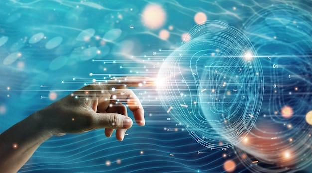 Mão do empresário tocando informações de conexão de rede global trocam dados de big data ciência