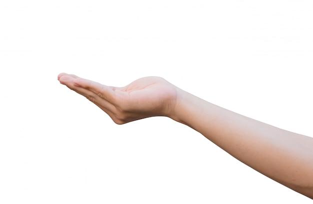 Mão do homem aberta e pronta para ajudar ou receber.