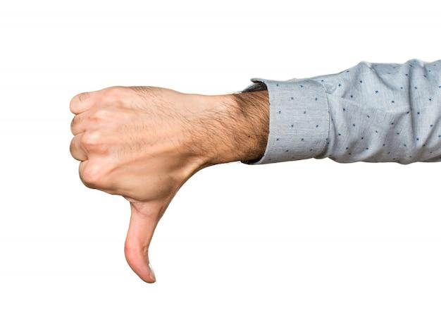 Mão do homem fazendo sinal ruim