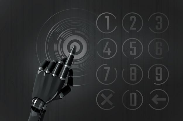 Mão do robô digitando no teclado numérico