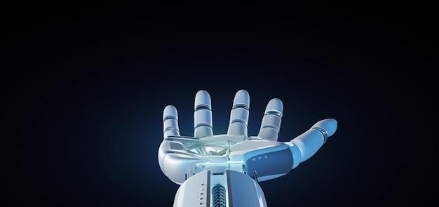 Mão do robô do cyborg em uma rendição 3d uniforme do fundo